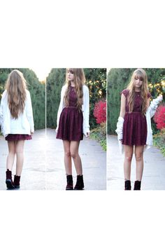 burgundy lace dress from h