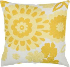 "Rizzy Home T03511 18"" x 18"" Pillow with Hidden Zipper and Polyester Filler Yellow Home Decor Pillows Pillows"