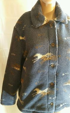 06cc2fb19b3 Vintage Woolrich Women s Jacket Deep Opal Horses Blue Size Large Cowgirl  Fleece  Woolrich  FleeceJacket