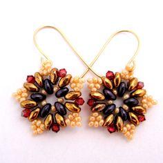 Beaded Earrings /  Super Duo Earrings / Swarovski Earrings / Beaded Jewelry / Gold Filled Earrings