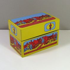 VTG Syndicate Tin Litho Recipe Box 1970's Very Nice!  Town Village Design on Etsy, Sold