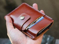 iPhone5/ 2 Side minimalist Mini branch brown leather iphone wallet case with wax cord