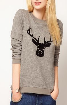 Boutique by Jaeger Deer Print Sweater