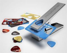 The Pickmaster Plectrum Punch lets you punch a guitar pick out of any plastic, which means you will never run out of picks again! You can even use your old credit card by simply inserting it into the punch and voila, you have a new plectrum. Hole Puncher, Guitar Pics, Music Guitar, Guitar Body, Cool Inventions, Playing Guitar, Cool Gadgets, Credit Cards, Repurposed