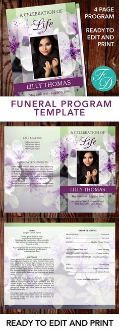 Downloadable Funeral Bulletin Covers Free Funeral Program Template