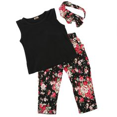 3pcs Toddler Baby Girls Outfits Clothes Sets Vintage Brief Headband + T-shirt + Flower Pants Tops Kids Clothes 1 2 3 4 5 6 7 8T #Affiliate