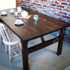 Dark planktable waiting for company for breakfast. This is our own model. This Is Us, Waiting, Dining Table, Rustic, Dark, Breakfast, Model, Furniture, Home Decor