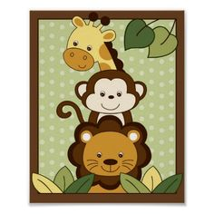 nursery walls - Safari Jungle Animal Nursery Wall Art Print Zazzle com Quilt Baby, Boy Quilts, Zebra Nursery, Animal Nursery, Nursery Wall Art, Jungle Nursery, Monkey Nursery, Safari Theme, Jungle Safari