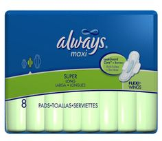 Always maxi pads long super with wings - 8 pads / pack, 12 pack