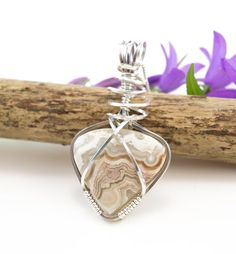 Crazy Lace Agate pendand necklace  Argentium by FeathersnThingz