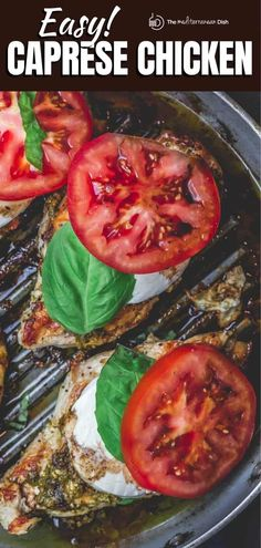 This easy caprese chicken will be your new go-to! You can make it in your skillet or outdoors on your grill. Don't miss this recipe! Basil Recipes, New Recipes, Cooking Recipes, Vegan Recipes, Favorite Recipes, Easy Mediterranean Diet Recipes, Mediterranean Dishes, Mediterranean Style, Dinner Dishes