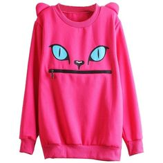 LookbookStore Women Zip Mouth Smile Shoulder 3D Ear Cat Jumper... ($29) ❤ liked on Polyvore featuring tops, sweaters, cut off top, loose fit tops, loose fitting tops, loose tops and cat top