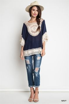 Crochet Tunic - Navy - Knitted Belle Boutique  - 1