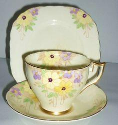 Bell English Vintage China Tea Set Tea Cup Trio Art Deco Floral Yellow Purple