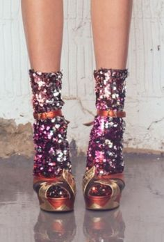 Disco sequinned socks | Designer Michael Halpern via http://terrydehavilland.com/terry-de-havilland-london-fashion-week/
