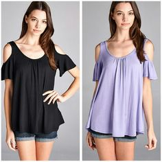 NEW The Haylee Top Black Beautiful open shoulder top in BLACK Material is rayon and spandex Boutique quality  Sizes available S M L  THIS LISTING IS FOR THE BLACK ONE Price Firm unless bundled  Available in Lavender Also Boutique  Tops Tunics