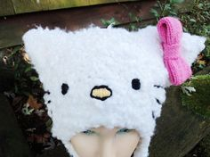 FREE SHIPPING Hello Kitty Knit Hat Vegan Cat Ears by fuzzydetails, $38.00