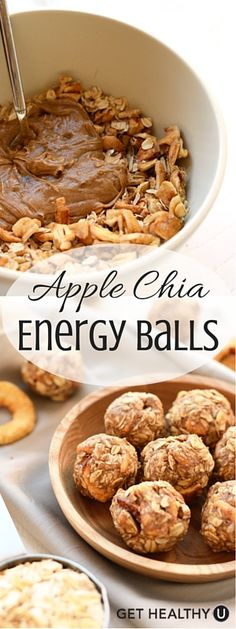 These low-calorie apple chia energy balls have under 100 calories, are packed with protein, and easily made gluten-free. Perfect to make ahead for the upcoming week or even freeze for a later date!