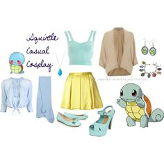 Squirtle casual cosplay. Pokemon, earrings, necklace, ring, shoes, skirt, shirt, outfit, video games, nintendo, accessory, jewelry, idea/concept.