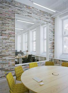 Creative Modern Office Interior Design ::: Love the Magazine Designed Wall