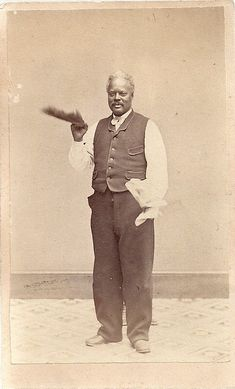 C1865 Civil War Era African American Man w Large Feather Occupational CDV Phila