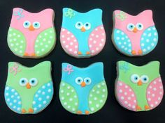 Owl sugar cookies by What The Cookie! Confections. Girl owl cookies