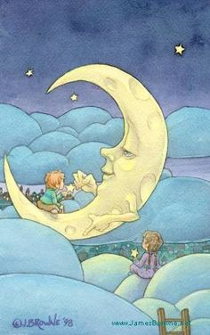 MOONLIGHTING  _  James Browne Size: 11 x 14  ...Two little children climbed up one night,to reach for the moon that shown so bright...  Written by D. R. Hartle Story included with print!  Price:	$25.00
