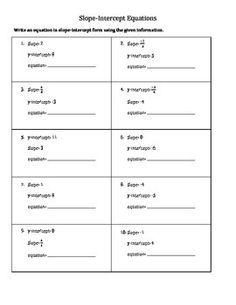 Slope-Intercept Equation Match Up   Equation, Worksheets and ...