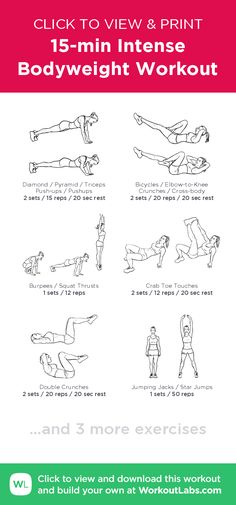15-min Intense Bodyweight Workout – click to view and print this illustrated exercise plan created with #WorkoutLabsFit