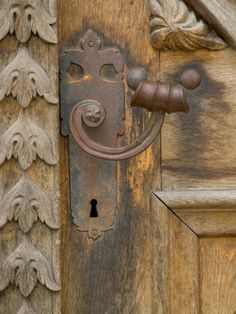 Old Door Handle, Ceske Budejovice, Czech Republic  --  door pull  misc  carved door