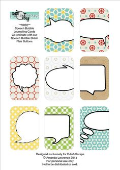 Free Speech Bubble Journaling Cards from D-lish Scraps