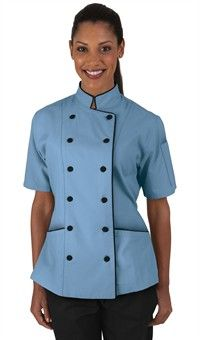 Style # 86515: SKY BLUE W/ BLACK: Women's Tailored Chef Coat with Piping - Fabric Covered Buttons - 65/35 Poly/Cotton