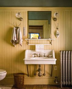 may want beadboard on full wall but run it as tall as the board which would not be all the way to the ceiling~~Cottage bath with painted beadboard walls
