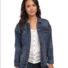 """Free people indigo denim jean jacket coat small s New with tags free people denim jacket. Bust across  20"""" length 26"""" is, new with tags. Destroyed look, with a distressed hole Free People Jackets & Coats Jean Jackets"""