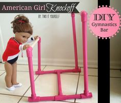 DIY American Girl Knockoff Gymnastics Set don't spend about $200. Make your own from small PVC pipes.