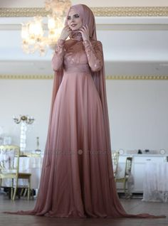 Caped Evening Dress - Copper - Nurbanu Kural