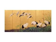 Six-Fold Screen Depicting Reeds and Cranes, Edo Period, Japanese, 19th Century Giclee-trykk av Suzuki Kiitsu hos AllPosters.no