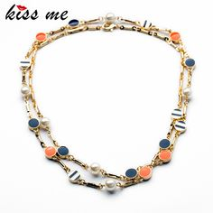 KISS ME New Design Classic Fashion jewelry Shiny Round Enamel Pendant Long Sweater chain Necklaces &Pendant 2017 #Affiliate