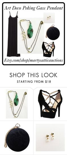 """""""Art Deco Peking Glass Pendant"""" by martysattic ❤ liked on Polyvore featuring Jessica Simpson and Carvela"""