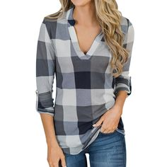 * V neck  * Button design  * Material: 100% Polyester   * Machine wash, tumble dry  * Imported Blouse Col V, V Neck Blouse, Long Sleeve Tops, Long Sleeve Shirts, Short Sleeves, Plaid Shirt Women, Plaid Shirts, Winter Fashion Casual, Autumn Casual