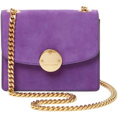 Marc Jacobs Collection Trouble Mini Suede Crossbody - Purple (438.660 CLP) ❤ liked on Polyvore featuring bags, handbags, shoulder bags, purple, chain strap purse, mini crossbody, crossbody purse, purple crossbody and mini cross body purse