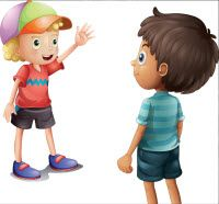 Illustration about Illustration of a boy waving at his friend on a white background. Illustration of drawing, shirt, illustration - 32202443