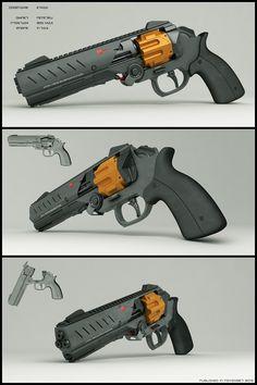 Futuristic concept weapon E-mag by peterku - sci-fi energy pistol/revolver #gun