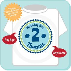 2nd Birthday Shirt Two Year Old Birthday Blue by ThingsVerySpecial, $14.99