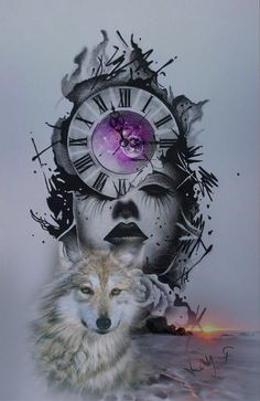 Big Cats Art, Cat Art, Female Grim Reaper, Wolves And Women, Clock Art, Time Art, Werewolf, Fantasy Characters, Starco