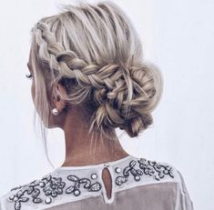 The perfect braided updo: teased, messy side braid fading into a low bun. Love this updo for any occasion, especially for a wedding or prom. Wedding Updo, Wedding Hairstyles, Braided Updo, Headbands, Updos, Dreadlocks, Celebrities, Product Description, Braids