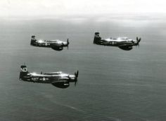Douglas AD-3W Skyraiders Aircraft from USS Boxer - CV 21 - flying off Korea on 27 August 1951