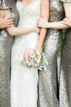 These sparkly dresses are everything! Photography : Ruth Eileen Photography Read More on SMP: http://www.stylemepretty.com/little-black-book-blog/2016/12/14/glamorous-elegant-mansion-wedding-in-the-berkshires/