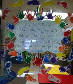 Handprint/footprint art for Martin Luther King- I displayed it on a window, but would be adorable for a bulletin board also.