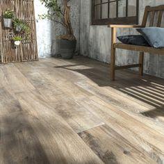 Into dark brown wood effect outdoor floor tiles Heritage x cm - Walnut Wood Floors, Wood Grain, Wood Picture Frames, Picture On Wood, Wooden Wall Art Panels, Modern Color Schemes, House Deck, Outdoor Flooring, Outdoor Wood Tiles